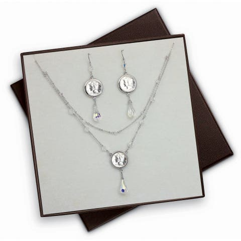 Mercury Dime Aurore Boreale Crystal Drop Necklace and Earring Set