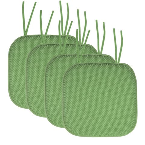 "Memory Foam Honeycomb Non-Slip Chair Cushion Pads with Ties (16""x16"")"