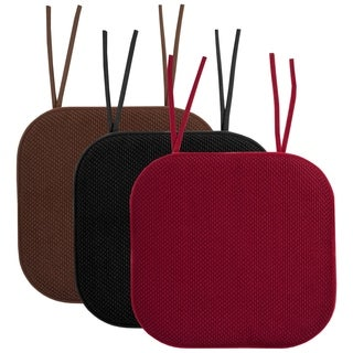"""Memory Foam Honeycomb Non-Slip Chair Cushion Pads with Ties (16""""x16"""")"""