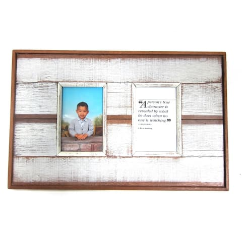 "Handmade Recycled Wood White Picture Frame - 4"" x 6"" (Thailand)"