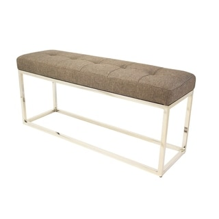 Narrow Tufted Linen Upholstered Bench with Metal Base