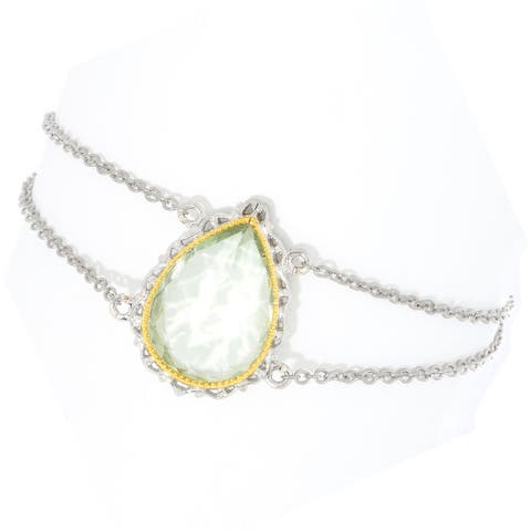 Gems en Vogue Palladium Silver Pearshaped Prasiolite Bracelet