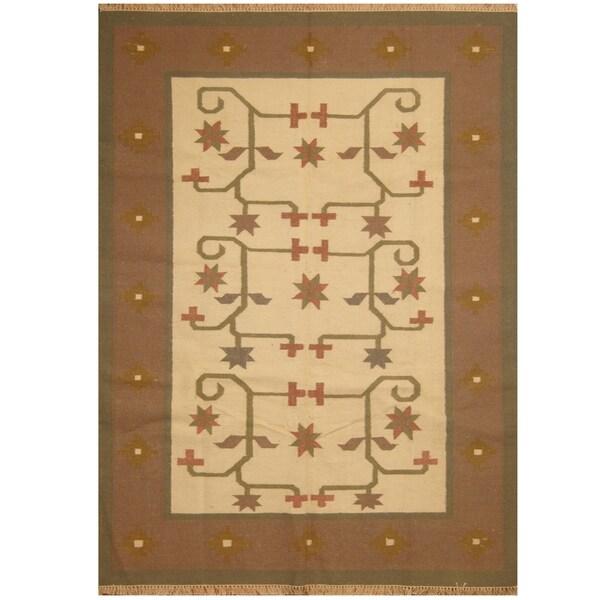 Handmade One-of-a-Kind Wool Kilim (India) - 5'7 x 7'10