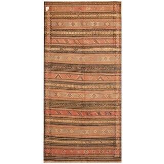 Handmade One-of-a-Kind Soumak Wool Kilim (Afghanistan) - 4'8 x 10'