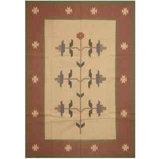 Handmade One-of-a-Kind Wool Kilim (India) - 5'6 x 8'