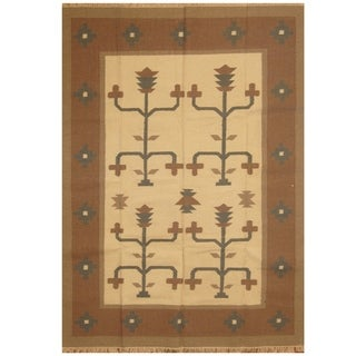 Link to Handmade One-of-a-Kind Wool Kilim (India) - 5'9 x 7'9 Similar Items in Rugs