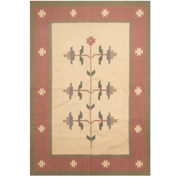 Handmade One-of-a-Kind Wool Kilim (India) - 5'6 x 7'8