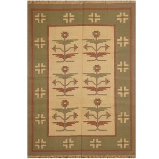 Link to Handmade One-of-a-Kind Wool Kilim (India) - 5'5 x 7'8 Similar Items in Rugs