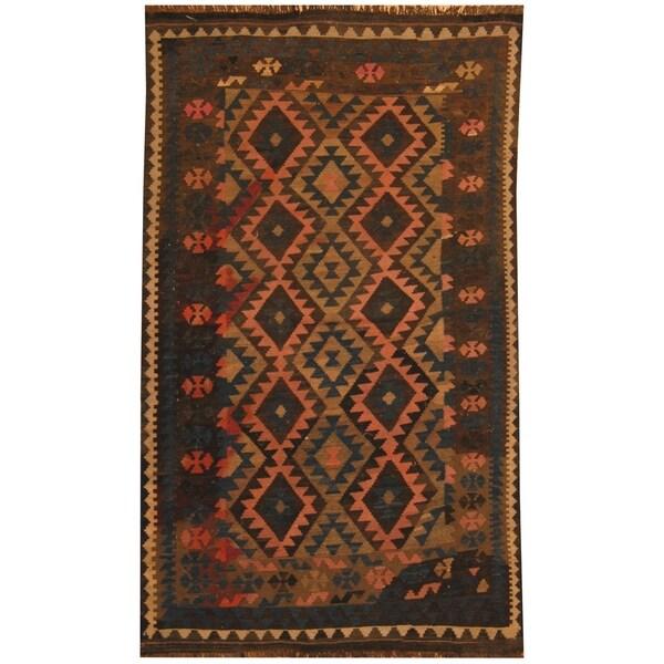 Handmade One-of-a-Kind Mimana Wool Kilim (Afghanistan) - 4'9 x 8'