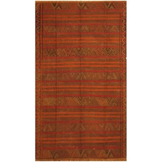 Handmade One-of-a-Kind Soumak Wool Kilim (Afghanistan) - 5' x 8'9