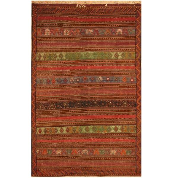 Handmade One-of-a-Kind Soumak Wool Kilim (Afghanistan) - 5'2 x 8'