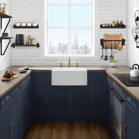 "Delice 24"" x 18"" Ceramic, Farmhouse Kitchen Sink with Apron"