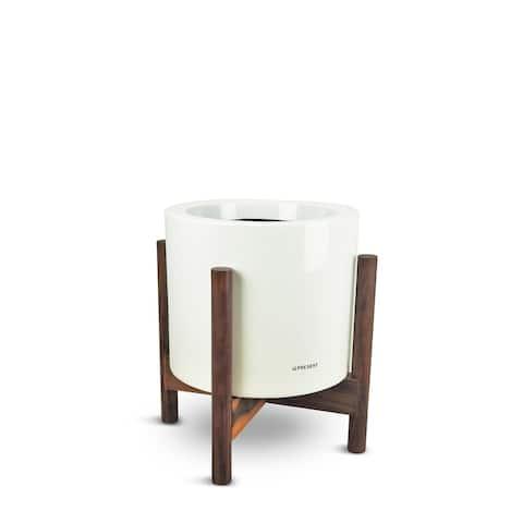 Century 18 Inch Fiberglass Pot Planter With Wood Frame