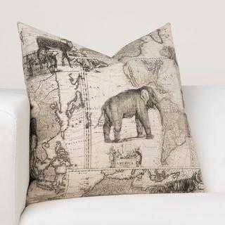 Ernest Hemingway Expedition Beige Cotton Designer Throw Pillow