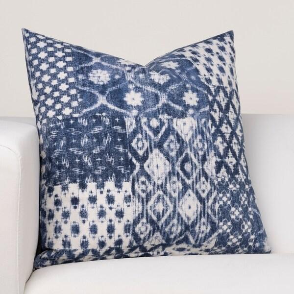 Ernest Hemingway Fisherman's Cove Blue Cotton Throw Pillow