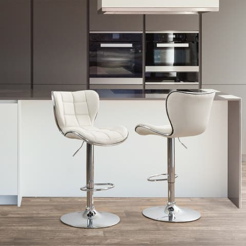 CorLiving Adjustable Chrome Accented Fabric Bar Stool (Set of 2)