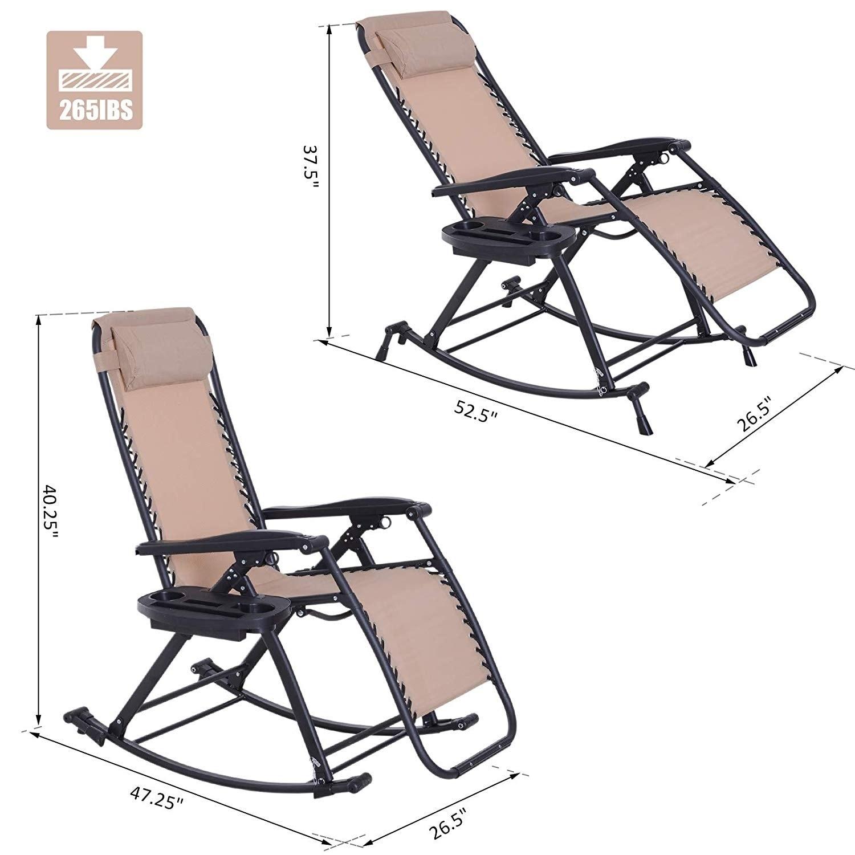 Beige Outsunny Folding Zero Gravity Rocking Lounge Chair