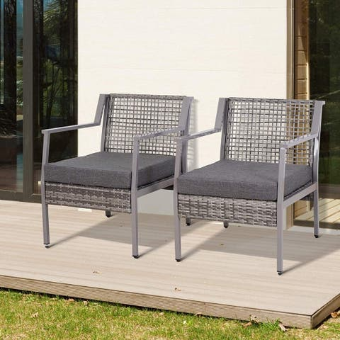 2 Piece Aluminum Rattan Wicker Outdoor Patio Cushioned Chair Furniture Set