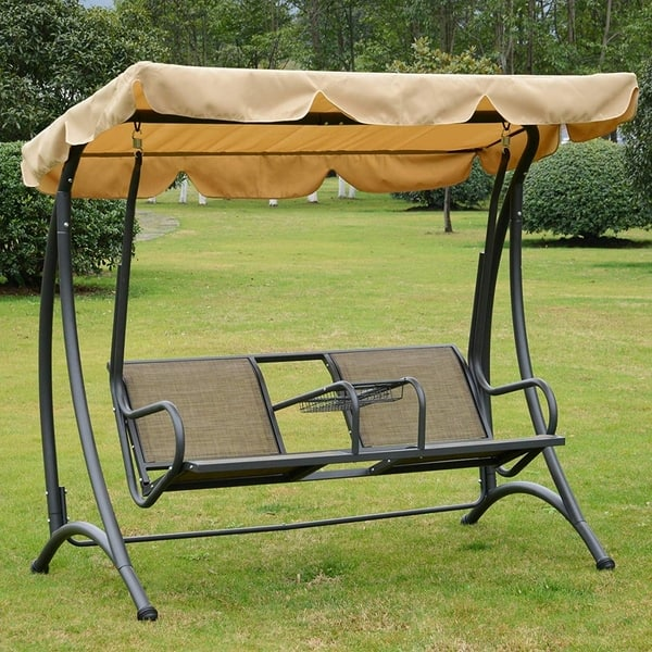 Shop Outsunny 2 Person Outdoor Covered Porch Canopy Swing