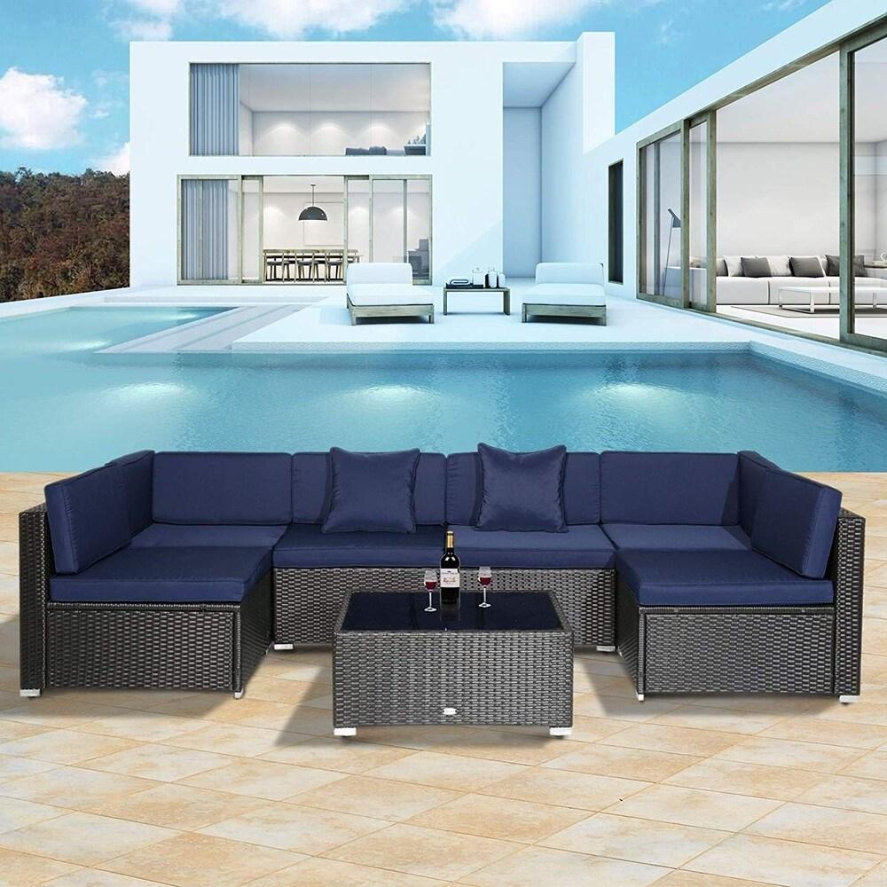 7-piece Modern Rattan Wicker Outdoor Modular Patio Sectional Sofa Set