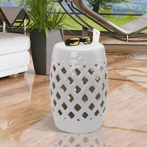 Outsunny Ceramic Indoor Outdoor Lattice Garden Stool