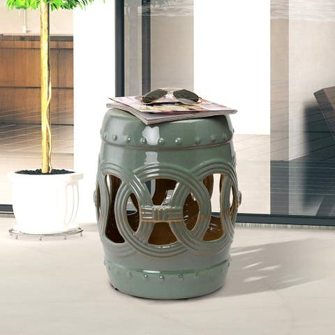 Outsunny Ceramic Indoor Outdoor Knotted Rings Garden Stool