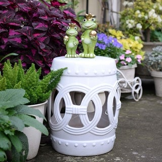 """Link to Outsunny 14"""" Heavy Duty Multi-Use Ceramic Garden Stool / Round Side Table / Foot Rest with Knotted Ring Design White Similar Items in As Is"""