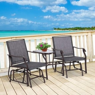 Havenside Home Sylvestere Outdoor Sling Fabric 3-piece Double Glider Rocker Chairs with Table Set