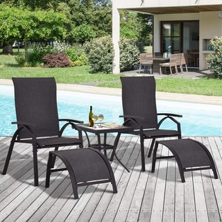 Shop Outsunny 5 Piece Outdoor Adjustable Sling Chaise ... on Living Accents Sling Folding Chaise id=61338