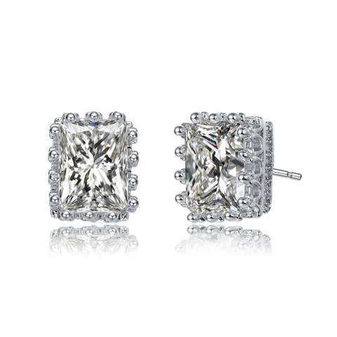 Collette Z Rhodium Plated Clear Radiant Cubic Zirconia Stud Earrings
