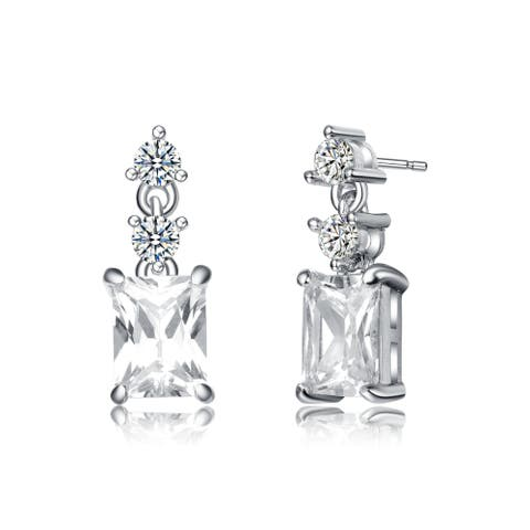 Collette Z Rhodium Plated Clear Round and Radiant Cubic Zirconia Drop Earrings