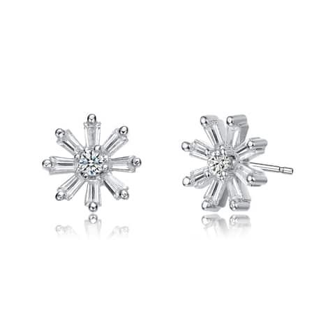 Collette Z Rhodium Plated Clear Baguette Cubic Zirconia Flower Stud Earrings