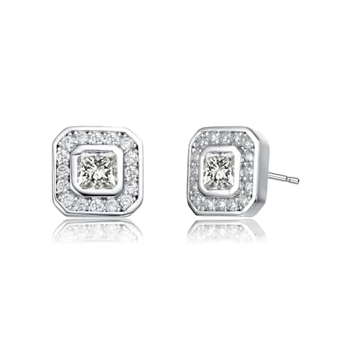 Collette Z Rhodium Plated Clear Round Cubic Zirconia Square Stud Earrings