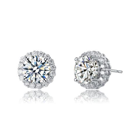 Collette Z Rhodium Plated Clear Round Cubic Zirconia Round Stud Earrings