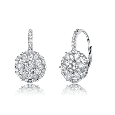 Collette Z Rhodium Plated Clear Round Cubic Zirconia Flower Leverback Earrings