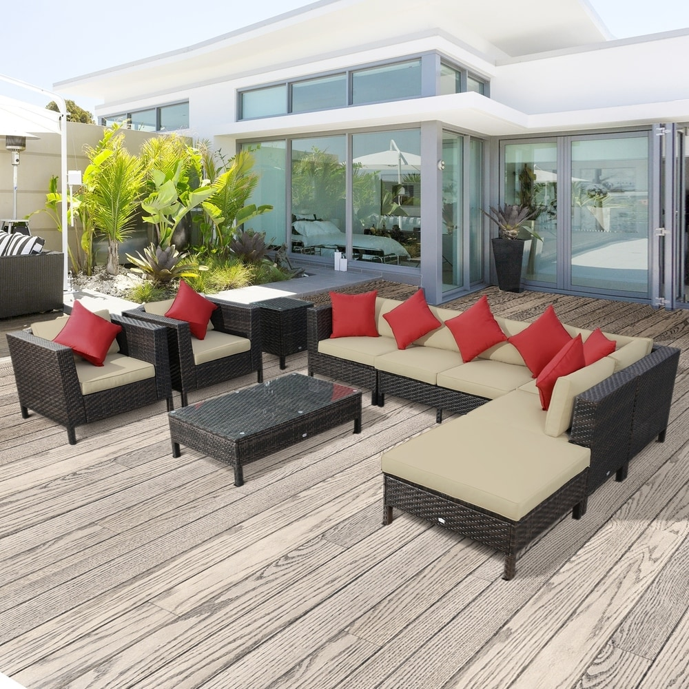 Outsunny 9 Piece Rattan Wicker Dining Set with Cushions
