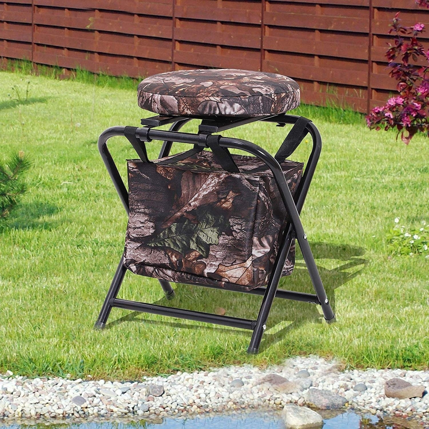 Outsunny 19″ 360 Degree Swivel Folding Travel Camping Stool with Storage Bag – Brown Camo