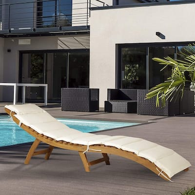 Outsunny Acacia Wood Folding Outdoor Chaise Lounge Chair with Cushion