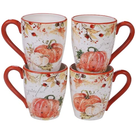 Certified International Harvest Splash 20-ounce Mugs, Set of 4