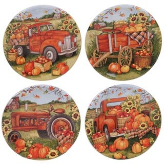 Certified International Harvest Bounty Round Canape Plates, Set of 4