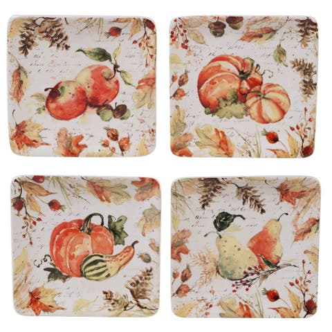 Certified International Harvest Splash Square Canape Plates, Set of 4