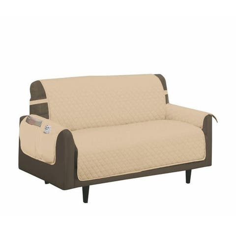 Porch & Den Genrosa Quilted Diamond Loveseat Furniture Protector Slipcover - Chair