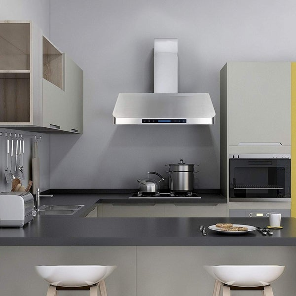 Homebeyond 30 Inch Range Hood 900CFM Ducted Under Cabinet Stainless Steel with 2 Blowers 4 Speed Touch Control with Remote