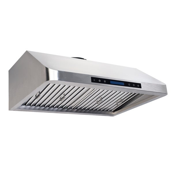 Homebeyond Under Cabinet Mounted Range Hood Stainless Steel Finish with 2 Blowers 30-Inch Wide 4 Speed Touch Control with Remote