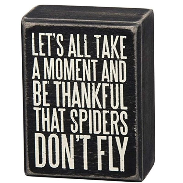 "Wood Box Sign Thanks Goodness Spiders Don't Fly 3"" x 4"" x 1.75"""