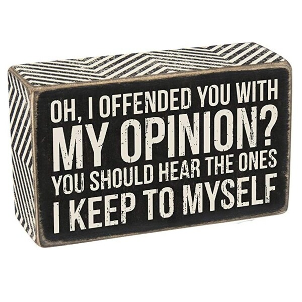"Wood Box Sign My Opinion 5"" x 3"" x 1.5"""