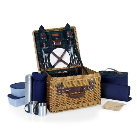 Canterbury Picnic Basket, (Navy with Green Tartan)