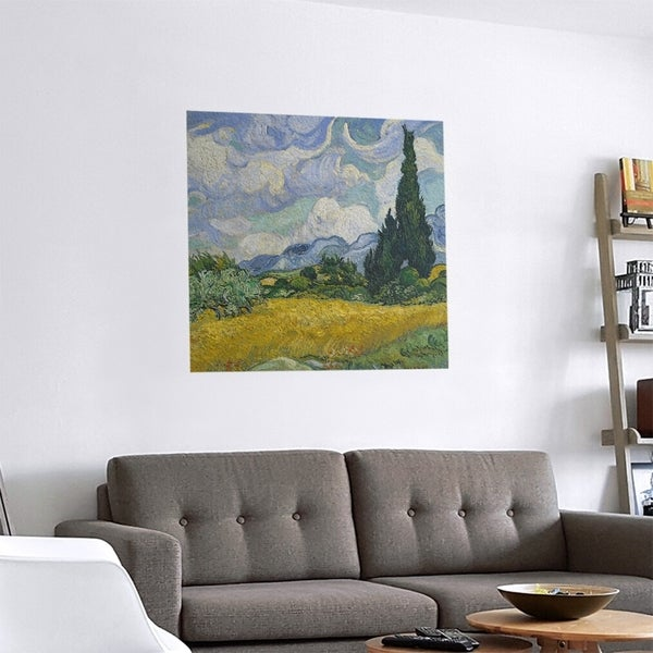 Porch & Den Vincent Van Gogh 'Wheatfield with Cypresses' Removable Art Decal. Opens flyout.