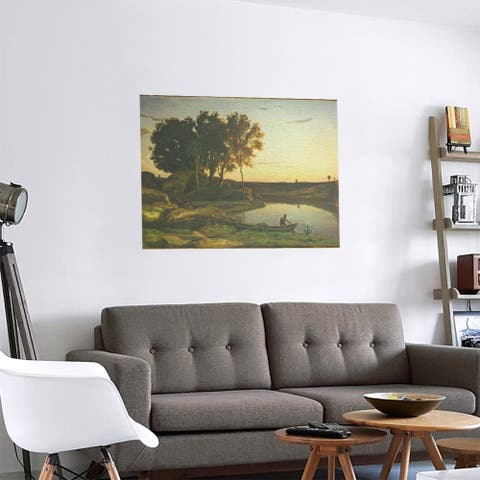 Porch & Den Jean-Baptiste-Camille Corot 'Lake and Boatman' Removable Art Decal