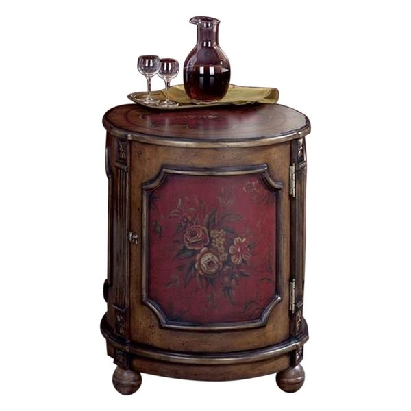 separation shoes 181b4 e9b6c Offex Traditional Red Hand Painted Finish Wooden Round Drum Table